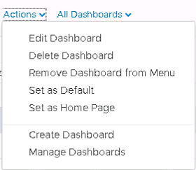 Machine generated alternative text: Actions  All Dashboards v  Edit Dashboard  Delete Dashboard  Remove Dashboard from Menu  Set as Default  Set as Home Page  Create Dashboard  Manage Dashboards