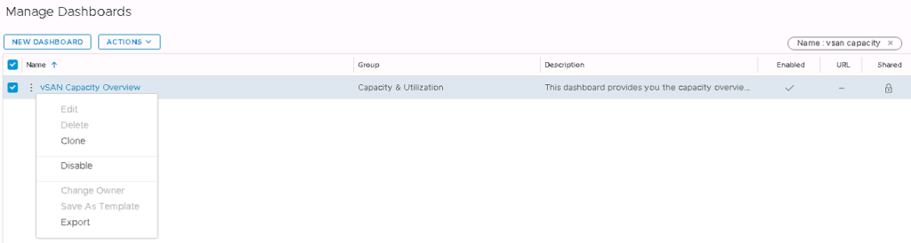 Machine generated alternative text: Manage Dashboards  Niame  vSAN Capacity Overview  Edit  Delete  Clone  Disable  Change Owner  Save As Template  Export  Group  Cepecity  Utilization  Description  This dashboard provides you the capacity oven.'ie__  Name : vsan capaciW' •x  Shared