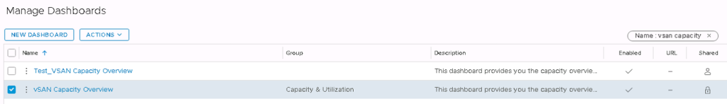 Machine generated alternative text: Manage Dashboards  Name  Test VSAN Capacity Overview  : vSAN Capacity Overview  Group  Capacity g Utilization  Description  This dashboard provides you the capacity oven.'ie__  This dashboard provides you the capacity overvie.-  Name : vsan capaciW' x  Shared