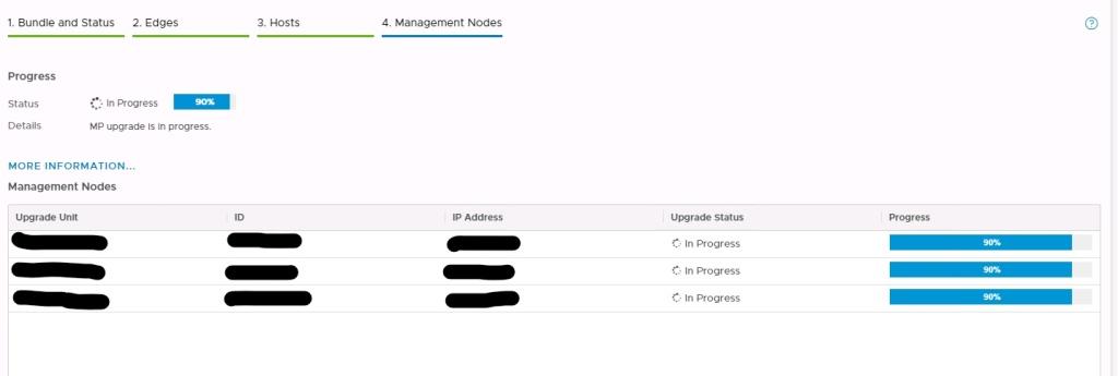 Machine generated alternative text: Bundle and Status  2. Edges  3. Hosts  e66e...bb88  6993...ee2c  4. Management Nodes  IP Address  10.24.53.52  10.24.53.53  10.24.53.51  b4ef..  .975e  Upgrade status  In Progress  In Progress  In Progress  Progress  Progress  Status  Details  In Progress  MP upgrade In progress.  MORE INFORMATION...  Management Nodes  Upgrade Unit  NSX-MGR-02  DAL-NSXMGR-03  DAL-NSXMGR-OI