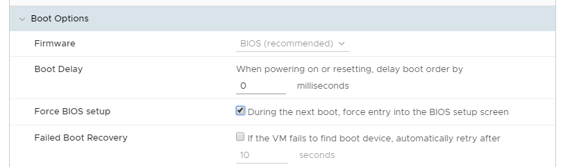 Machine generated alternative text: Boot Options  Firmware  Boot Delay  Force BIOS setup  Failed Boot Recovery  BIOS (recommended) v  When powering on or resetting, delay boot order by  milliseconds  During the next boot, force entw into the BIOS setup screen  O If the VM fails to find boot device, automatically retry after  seconds